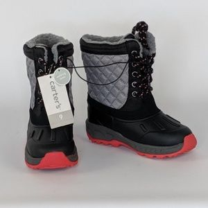 Carters Aikin Black Grey Red Snow Boots